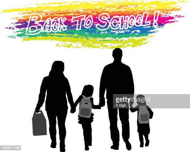 illustrations, cliparts, dessins animés et icônes de parent à pied à l'école - première rentrée scolaire