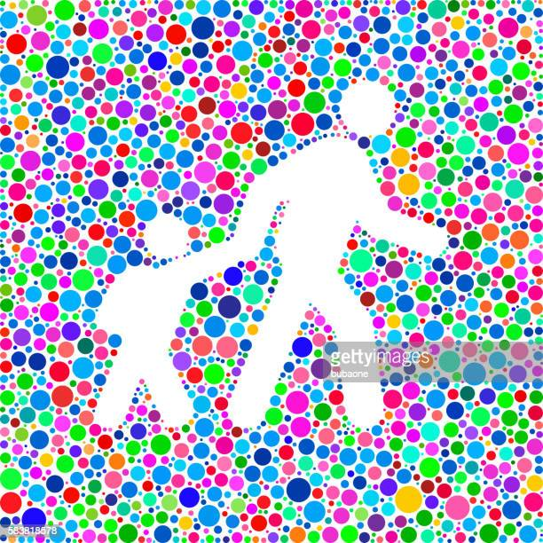 Parent Walking Child Icon on Color Circle Background Pattern