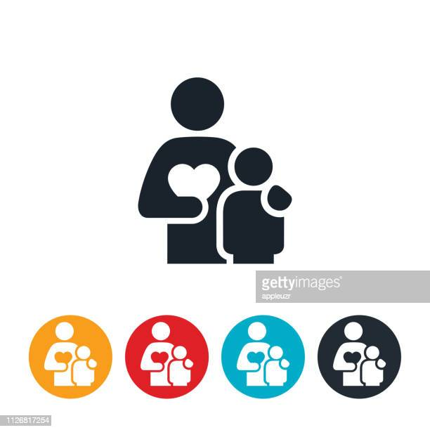 parent with child icon - one parent stock illustrations