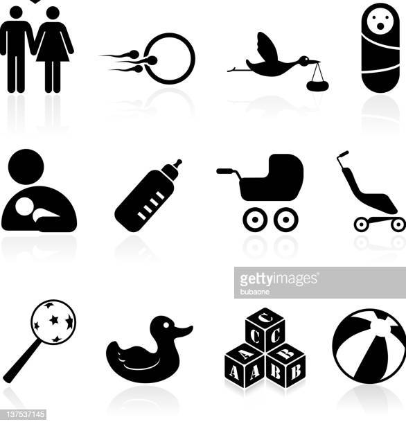 parenting black and white royalty free vector icon set