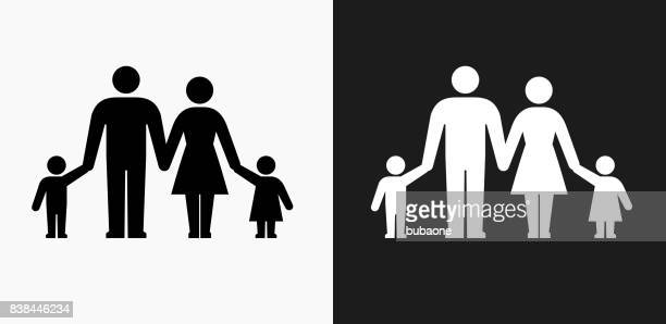 Parents and Children Icon on Black and White Vector Backgrounds