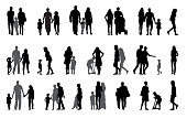 Parents and children with pram Silhouette Vector Illustration