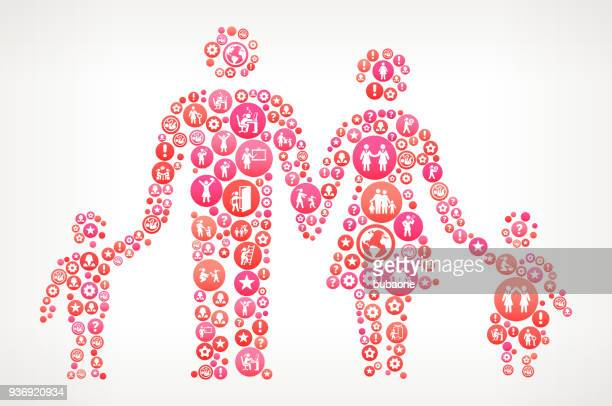 Parents and Children Women Girl Power Icons Vector Background