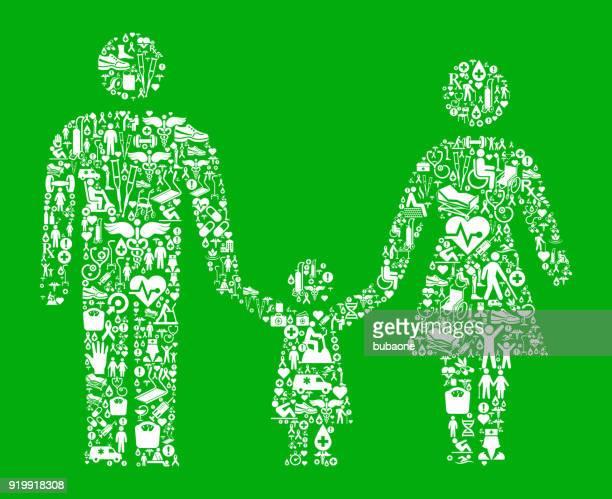 eltern und tochter grün medizinische rehabilitation physikalische therapie - piktogramm collage stock-grafiken, -clipart, -cartoons und -symbole