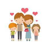 Parents and kids icon. Family and cute people design. Vector gra