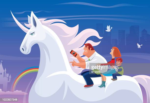 parents and son riding on unicorn