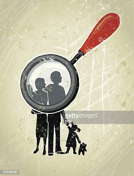 parents, children family being scrutinised by a giant magnifying glass - sociology stock illustrations, clip art, cartoons, & icons