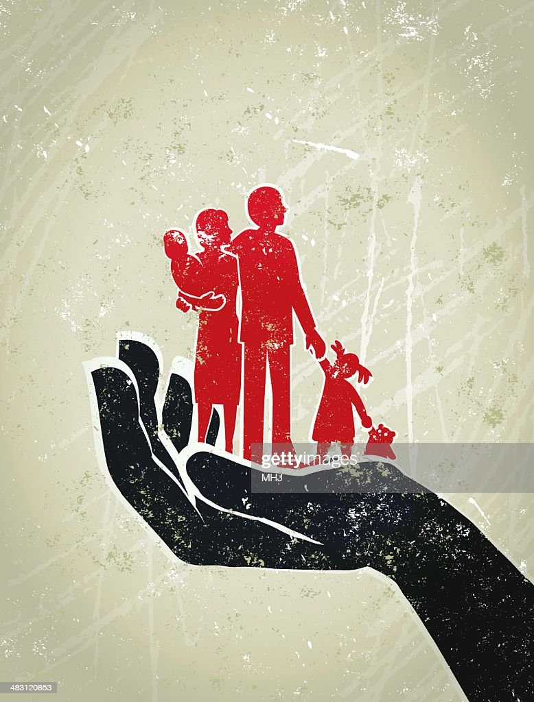Parents, Children Standing on a Giant Protective Hand