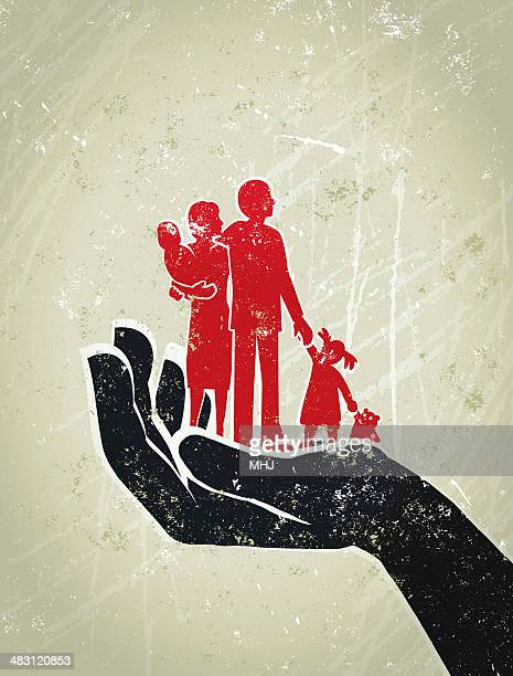 parents, children standing on a giant protective hand - parent stock illustrations