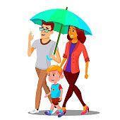 Parents In The Rain Holding An Umbrella Over Child Vector. Illustration