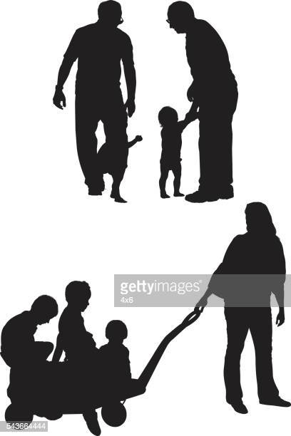 Parents in various actions with their children