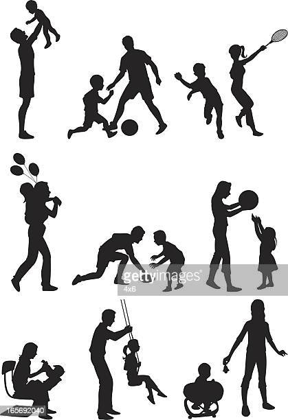 parents playing with their children - messing about stock illustrations