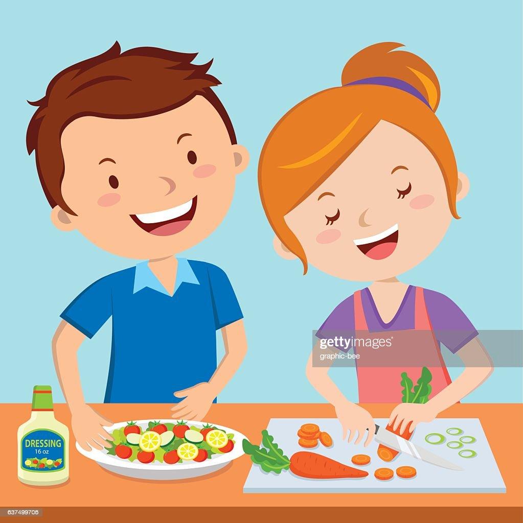 Parents preparing food together