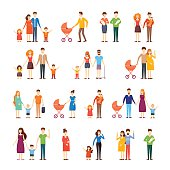 Parents with kids, cartoon family, on an isolated background.
