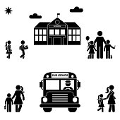 Parents with kids stick figure. School building and bus black sing symbol