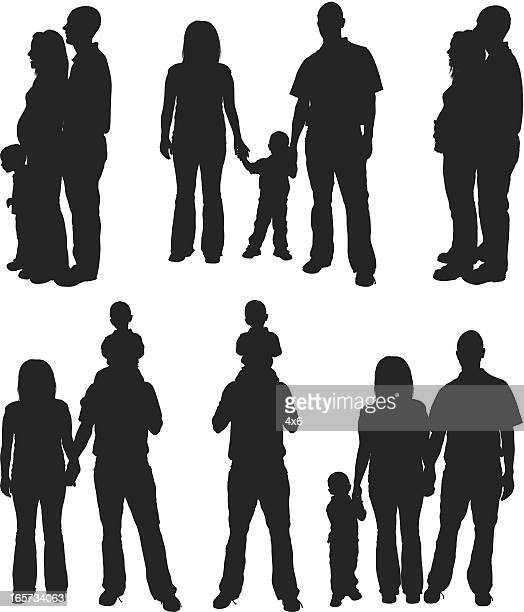 parents with their children - clip art family stock illustrations