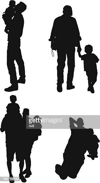 parents with their children - piggyback stock illustrations, clip art, cartoons, & icons