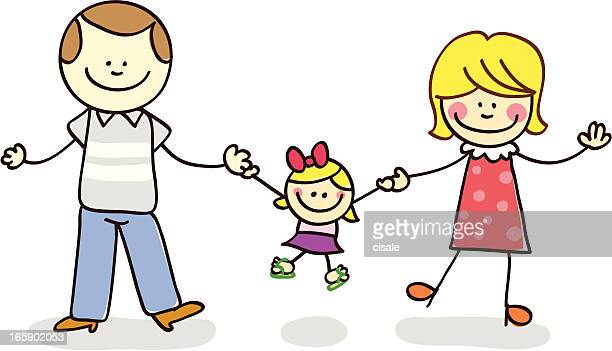 parents with their daughter illustration cartoon