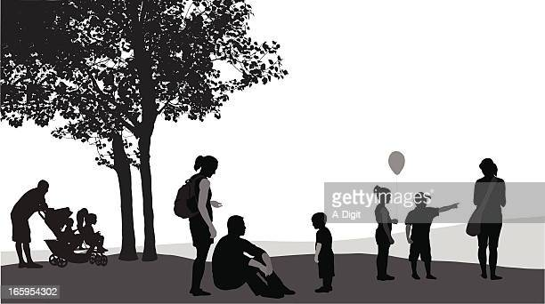parents'n kids vector silhouette - three wheeled pushchair stock illustrations, clip art, cartoons, & icons