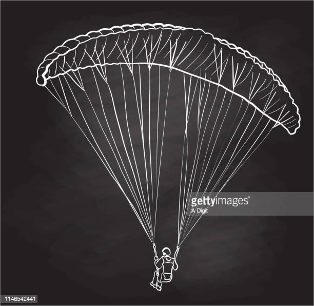 illustrations, cliparts, dessins animés et icônes de dessin de craie de parachute de parplaner - saut en parachute