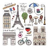 Paris and France hand drawn illustrations. Travel symbols