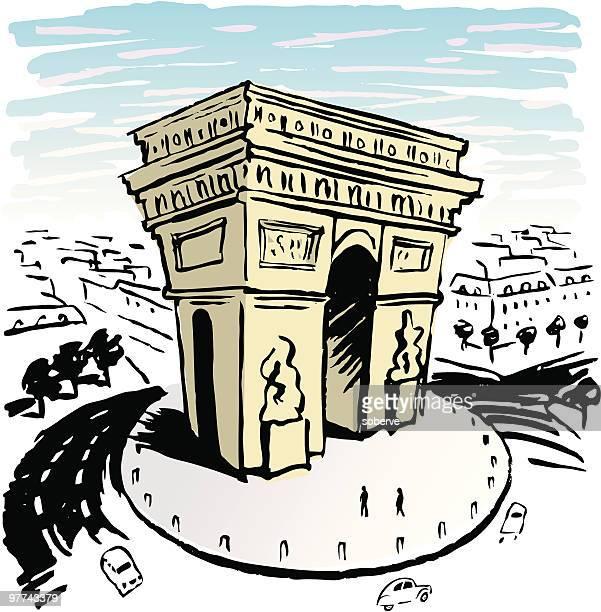 パリのアーチ - シャンゼリゼ地区点のイラスト素材/クリップアート素材/マンガ素材/アイコン素材