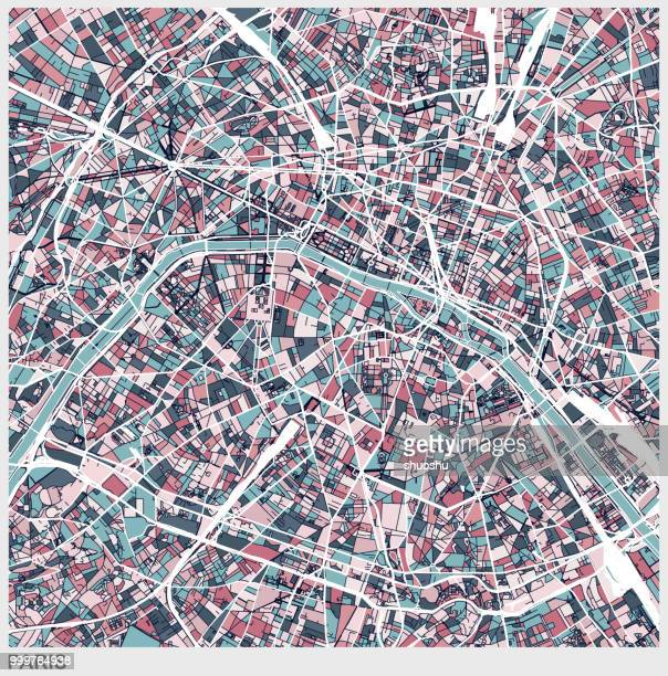 paris art map background - artistic product stock illustrations