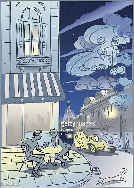 パリカフェ」の夜景 - ロマンス点のイラスト素材/クリップアート素材/マンガ素材/アイコン素材