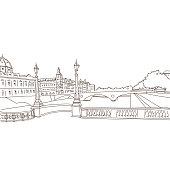 Paris city hand drawn, vector illustration