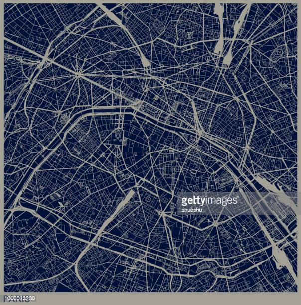 paris city structure illustration - cartography stock illustrations
