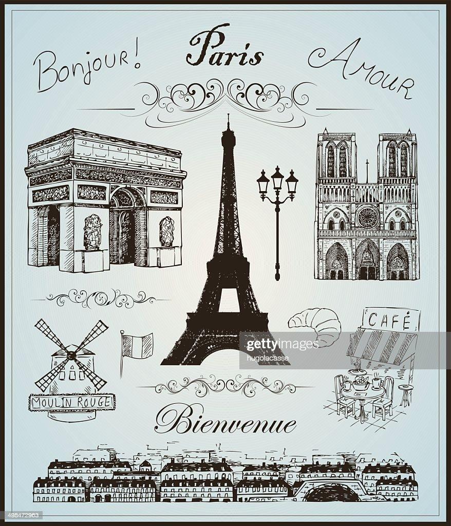 Paris collection elements vector hand drawn