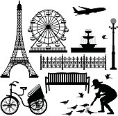 Paris Eiffel Tower and Ferris Wheel in Silhouette Vector.