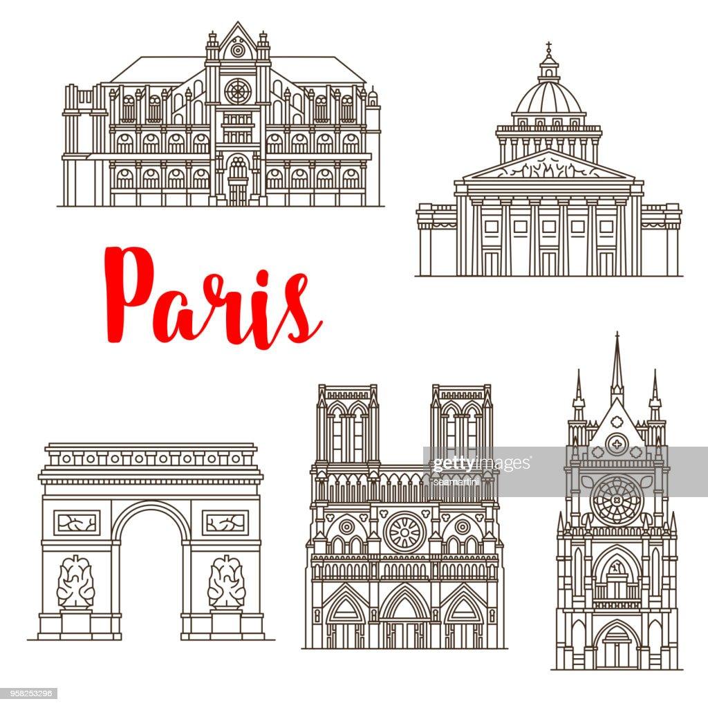 Paris famous landmarks vector buildings icons