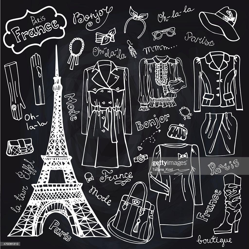 Paris Fashion.Clothing set.Doodle Sketch.Chalkboard outline
