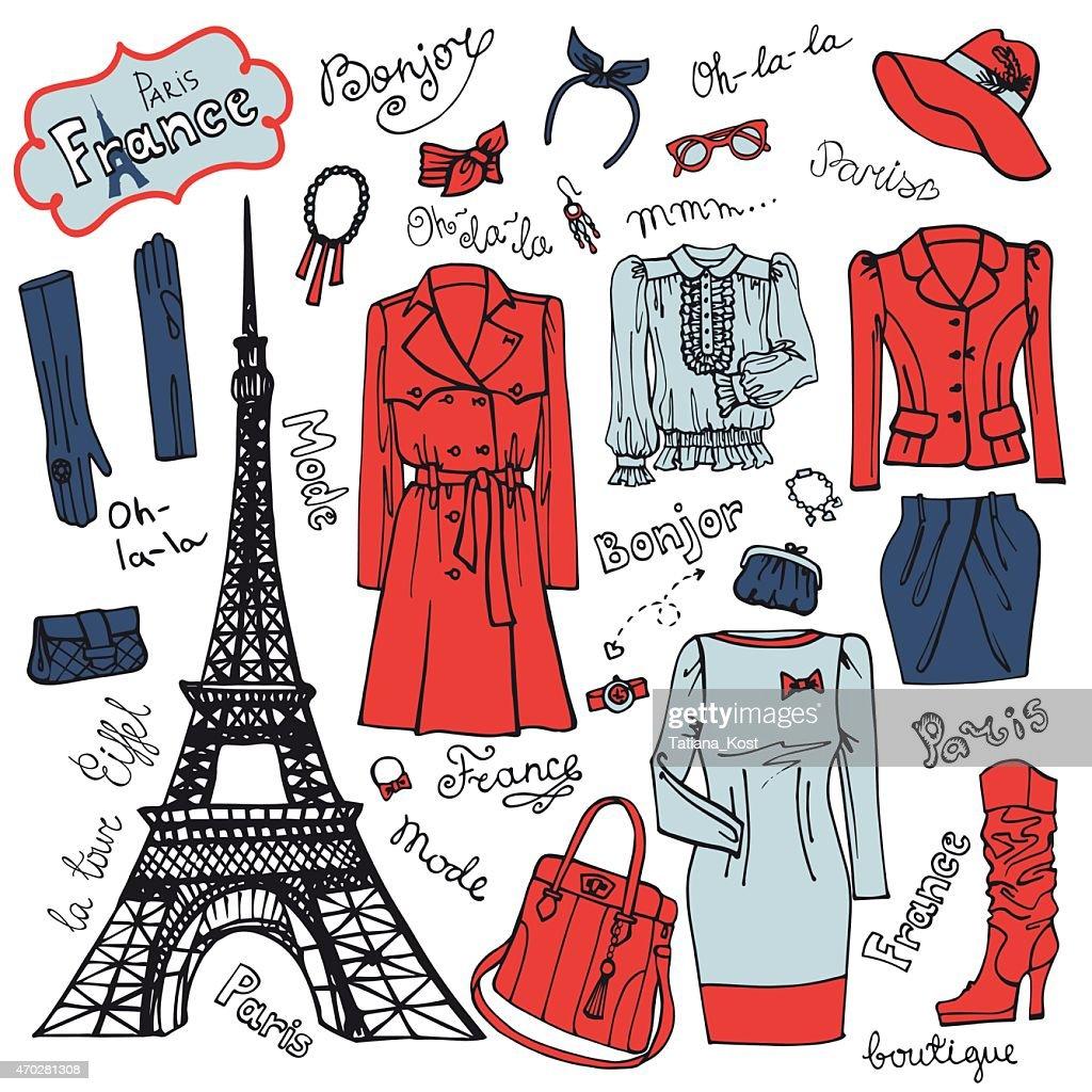 Paris Fashion.Clothing set.Tricolor doodle Sketch