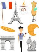 Paris France Icon Set