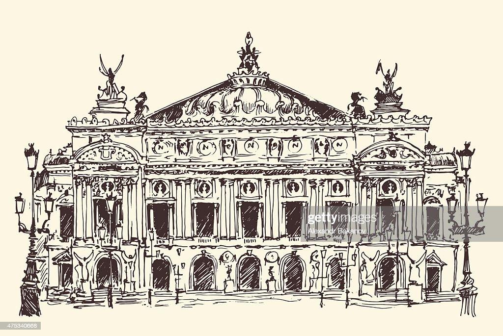 Paris, France, Palais Garnier (Paris opera house) vintage engraved