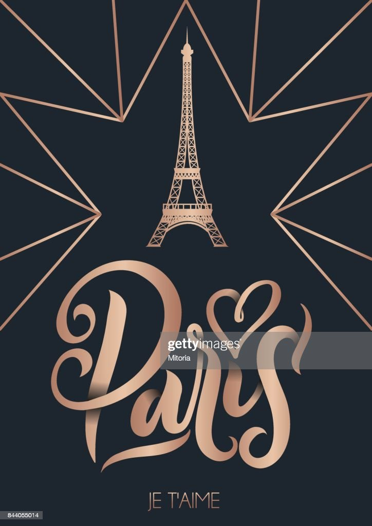 Paris France poster or greetimg card with lettering. Modern rose gold calligraphy with geometric background.