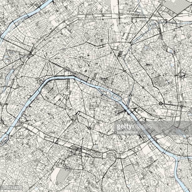 ilustraciones, imágenes clip art, dibujos animados e iconos de stock de mapa vectorial de parís, francia - paris