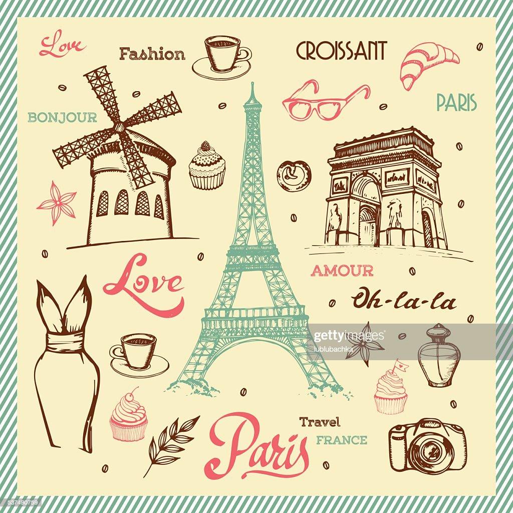 Paris hand drawn illustration with Eiffel tower