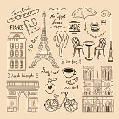 Paris hand drawn illustrations. France vintage doodle icons and symbols