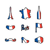 Paris icons set. Traditional French national symbols. Eiffel Tower and croissant. French flag and map. Wine and cheese. Fashion and baguette. Dorblu with mold and euroTravel sign