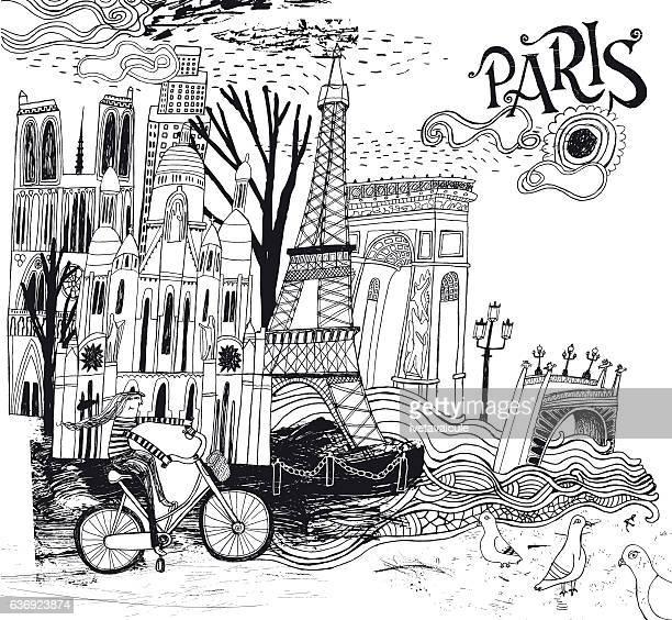 Paris in France illustration