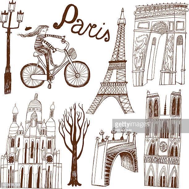 Paris in France monuments: Eiffel Tower, Arc de Triomphe