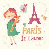 Paris je t'aime vector card
