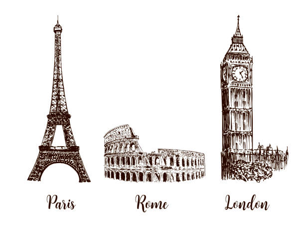 Paris, London Rome. Set of European capitals symbols. Eiffel tower, Coliseum, Big Ben