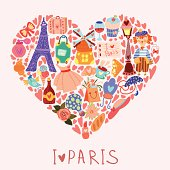 Paris love with hand drawn elements