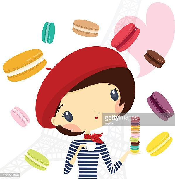 paris mania. french girl love macarons - macaroon stock illustrations, clip art, cartoons, & icons