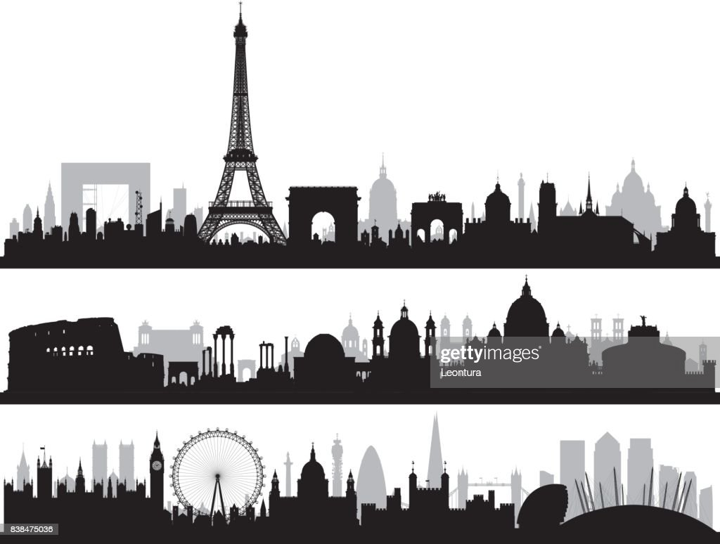 Paris, Rome, and London, All Buildings Are Complete and Moveable. : stock illustration