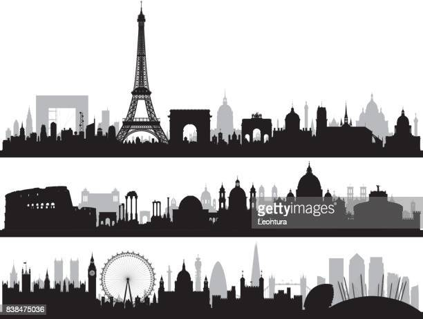 paris, rome, and london, all buildings are complete and moveable. - skyline stock illustrations